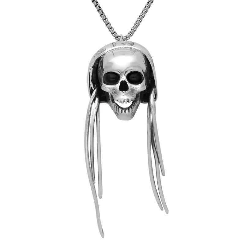 Sterling Silver Whitby Jet Skull Dreadlocks Necklace. PUNQ0004904.