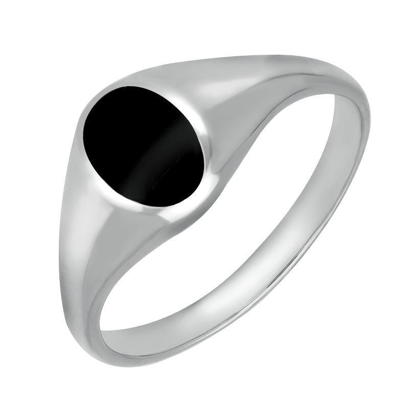 Sterling Silver Whitby Jet Small Oval Signet Ring. R188.
