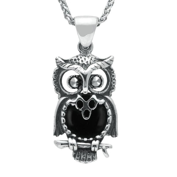 Sterling Silver Whitby Jet Small Owl Necklace P2321