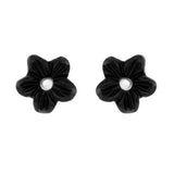 Sterling Silver Whitby Jet Small Petal Stud Earrings. E1321.