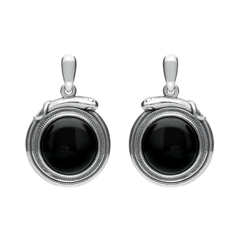 Sterling Silver Whitby Jet Small Round Snake Edge Drop Earrings E2204