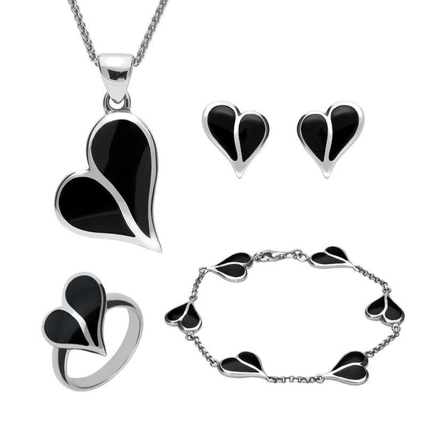 Sterling Silver Whitby Jet Split Heart Four Piece Set. S006