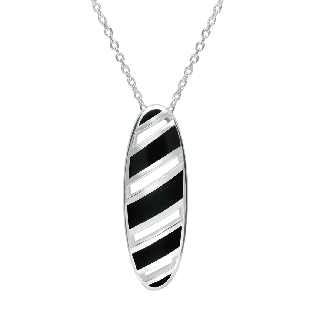 Sterling Silver Whitby Jet Striped Open Oval Necklace