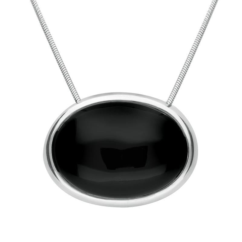 Sterling Silver Whitby Jet Unique Chunky Oval Necklace PUNQ0003473