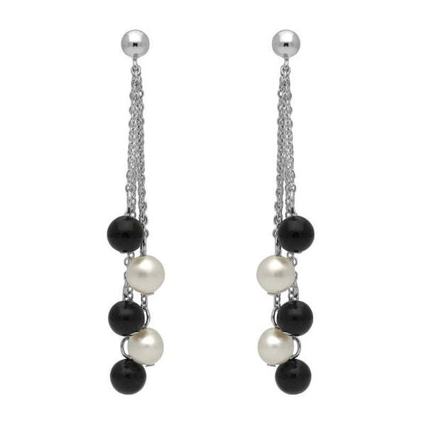 Sterling Silver Whitby Jet White Pearl Beaded Tassel Drop Earrings