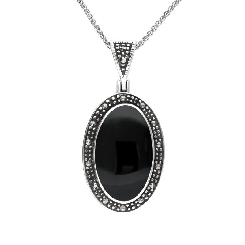 Sterling Silver Whitby Jet and Marcasite Framed Oval Necklace. P1322.