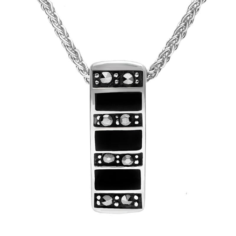 Sterling Silver Whitby Jet and Marcasite Small Oblong Necklace P1324