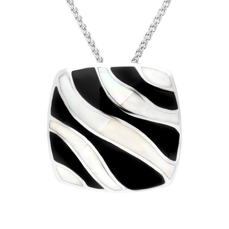 Sterling Silver Whitby Jet and Mother of Pearl Wavy Line Cushion Necklace. P945
