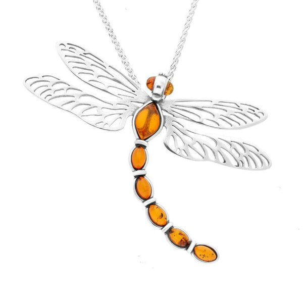 Sterling Silver Amber Dragonfly Necklace P3352