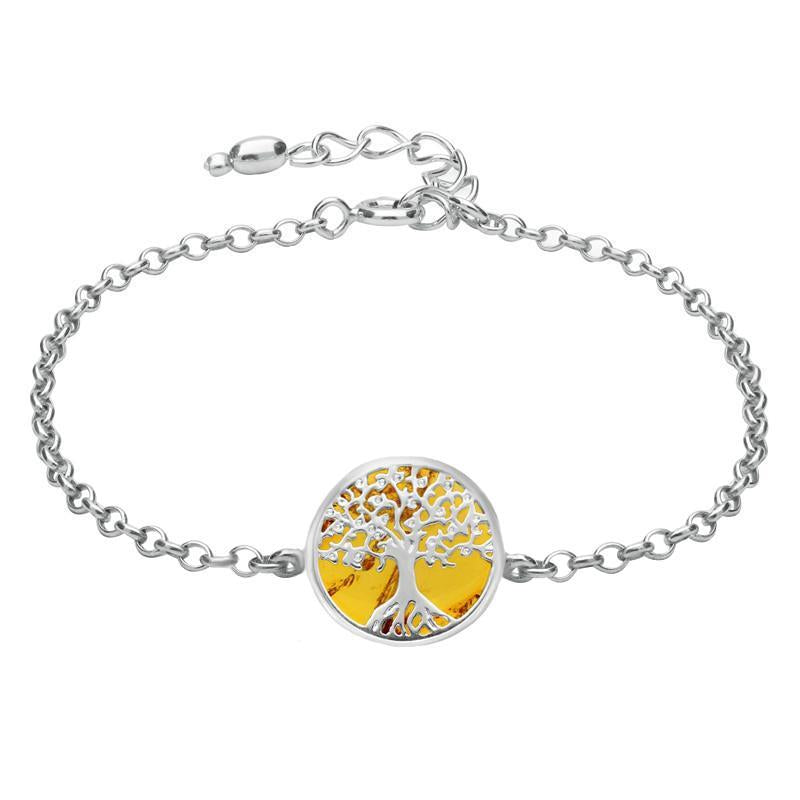 Sterling Silver Amber Round Tree Chain Bracelet B1140