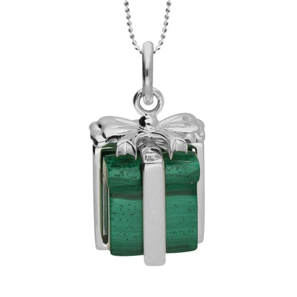 Sterling Silver and Malachite Christmas Present Necklace, P2985C.