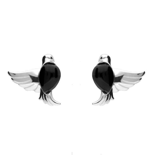 Sterling Silver Whitby Jet Bird Stud Earrings E2436