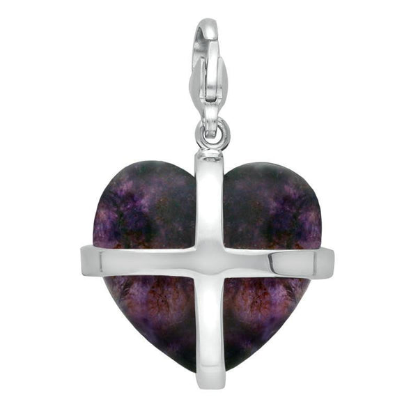 Sterling Silver Blue John Cross Hearts Large Charm. G535.