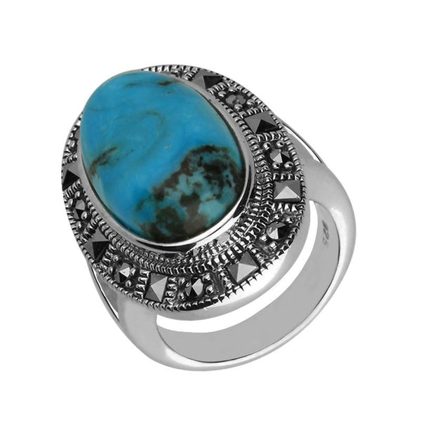 Silver Turquoise Marcasite Beaded Oval Ring R818