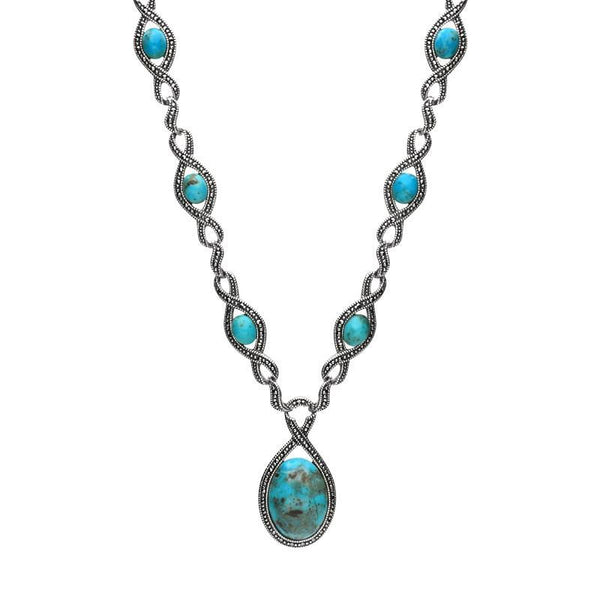 Silver Turquoise Marcasite 13 Stone Twist Necklace. N892.