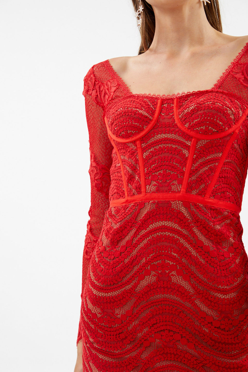 Red Bodysuit Bustier Dress