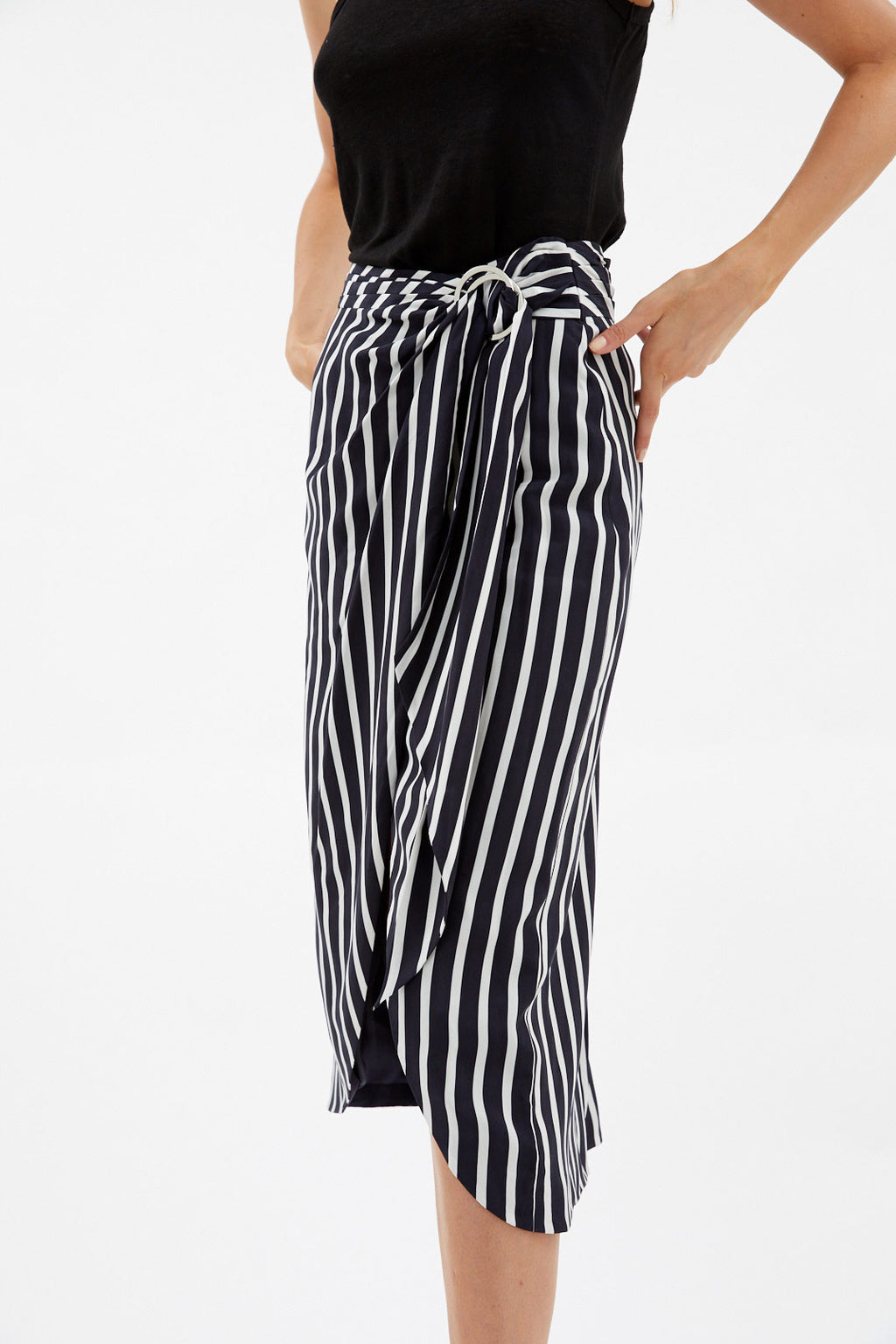 Stripe Split Skirt
