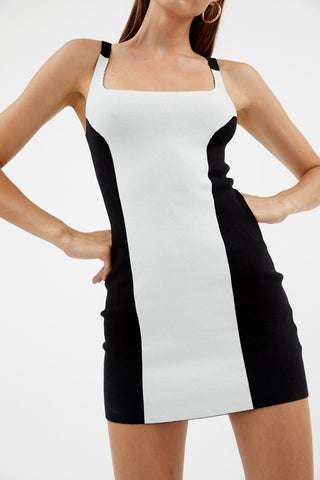 Colour Block White Mini Dress
