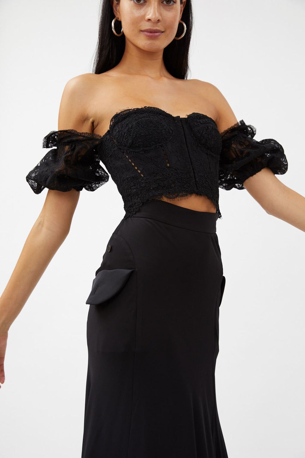 lace sleeved bustier
