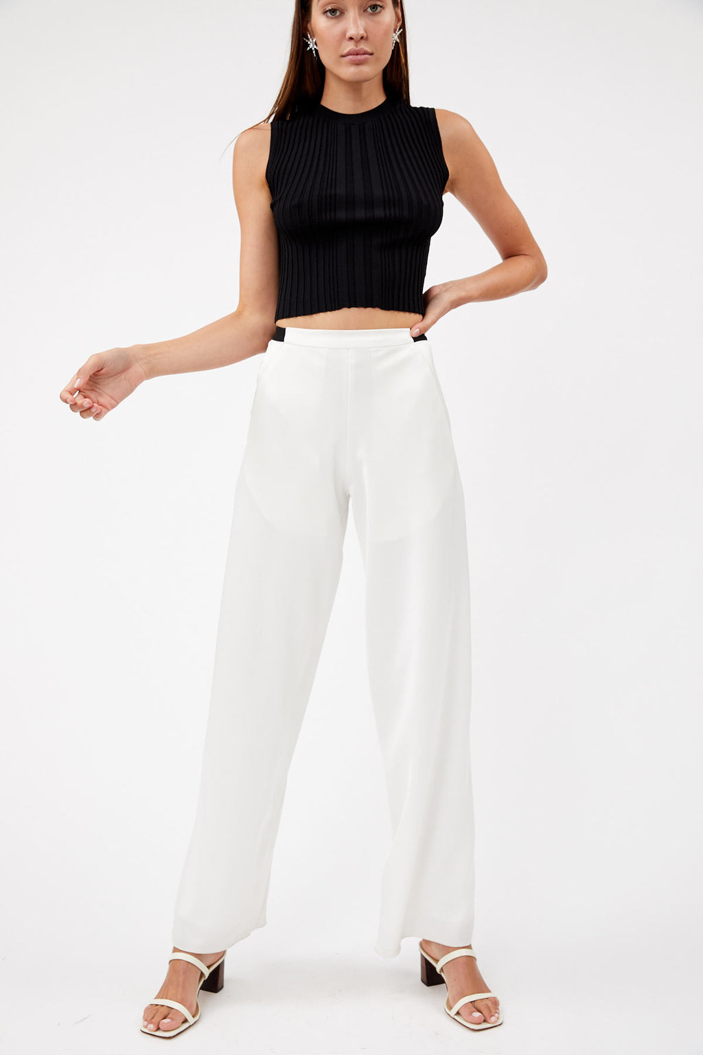 Bias White Satin Trouser