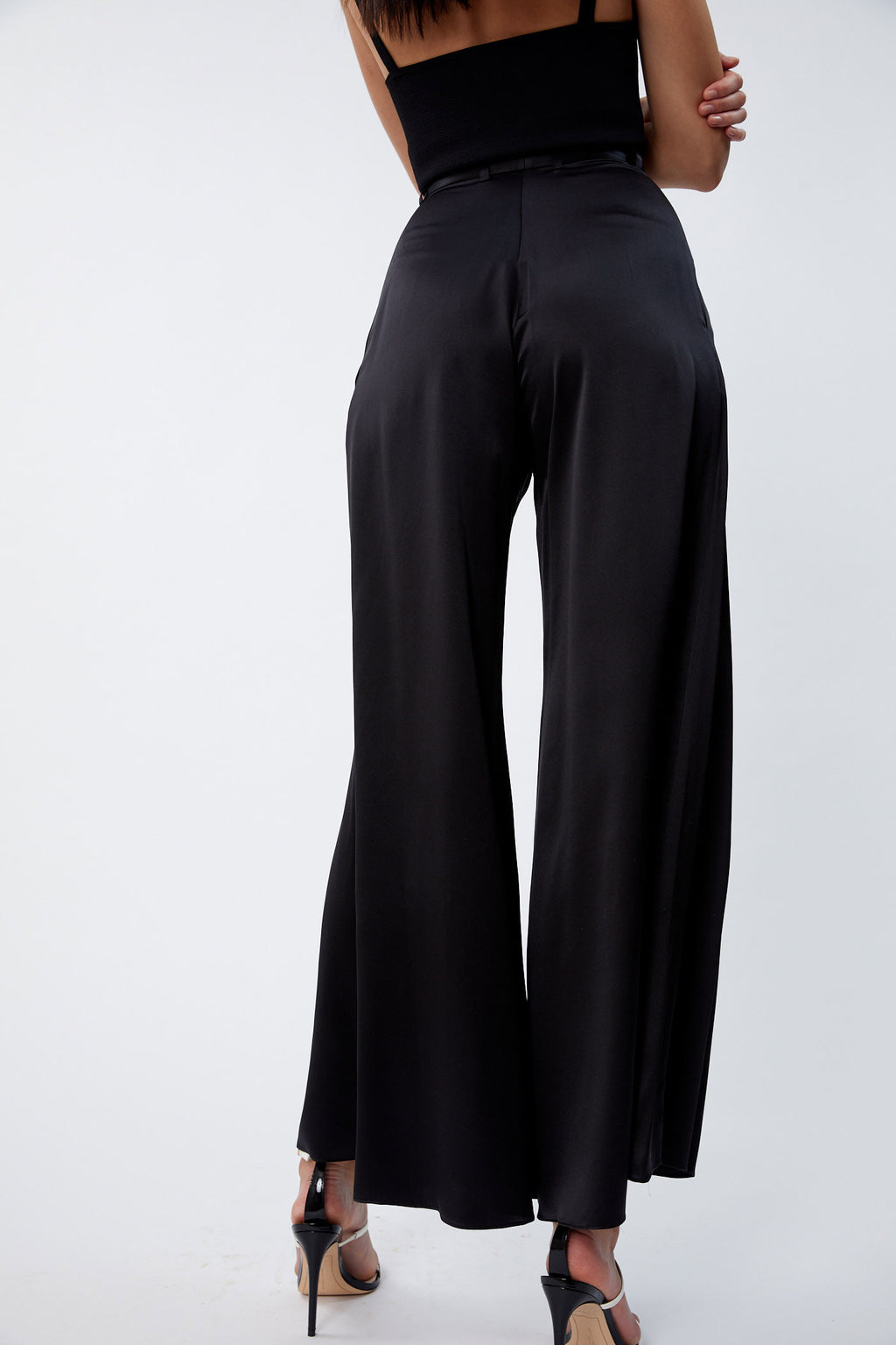 Silk Wide leg black pants