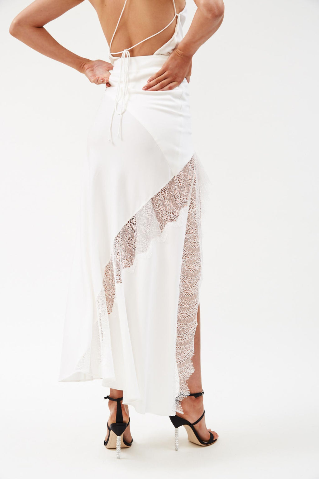 Lace Split White Skirt