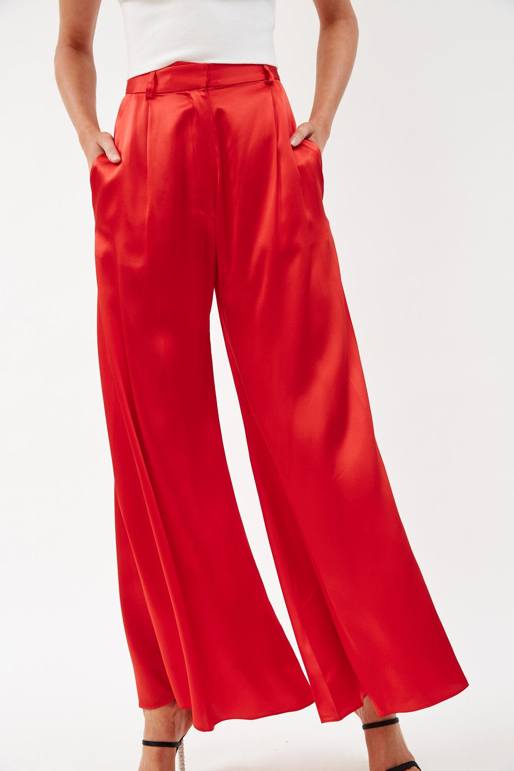 Silk Wide Leg Red Pants