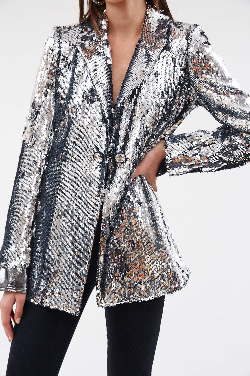 Sugar for my Honey Silver Sequin Blazer