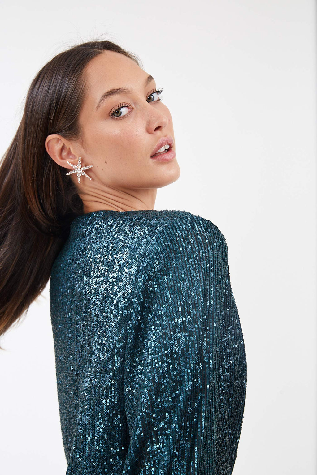 Long Sleeve Marine Sequin Mini