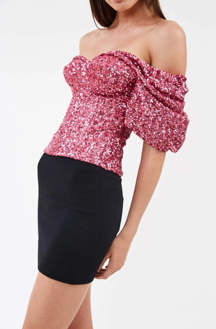 Daria Pink Sequin Top