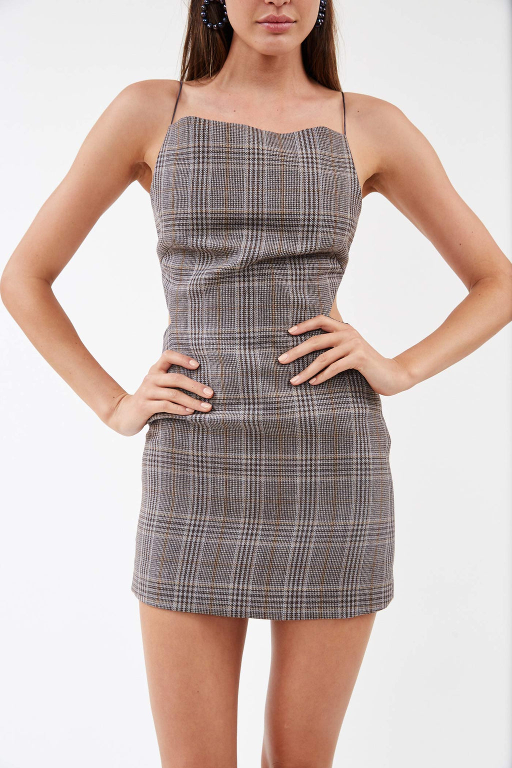 Wire Back Houndstooth Dress