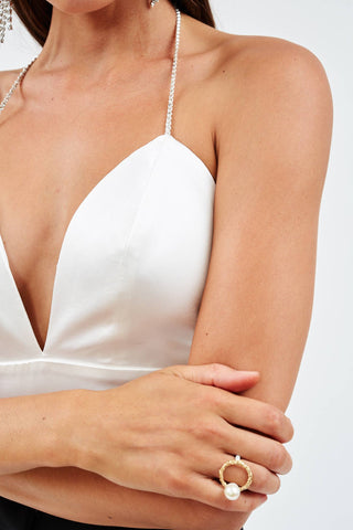Silk White Crystal Bodice