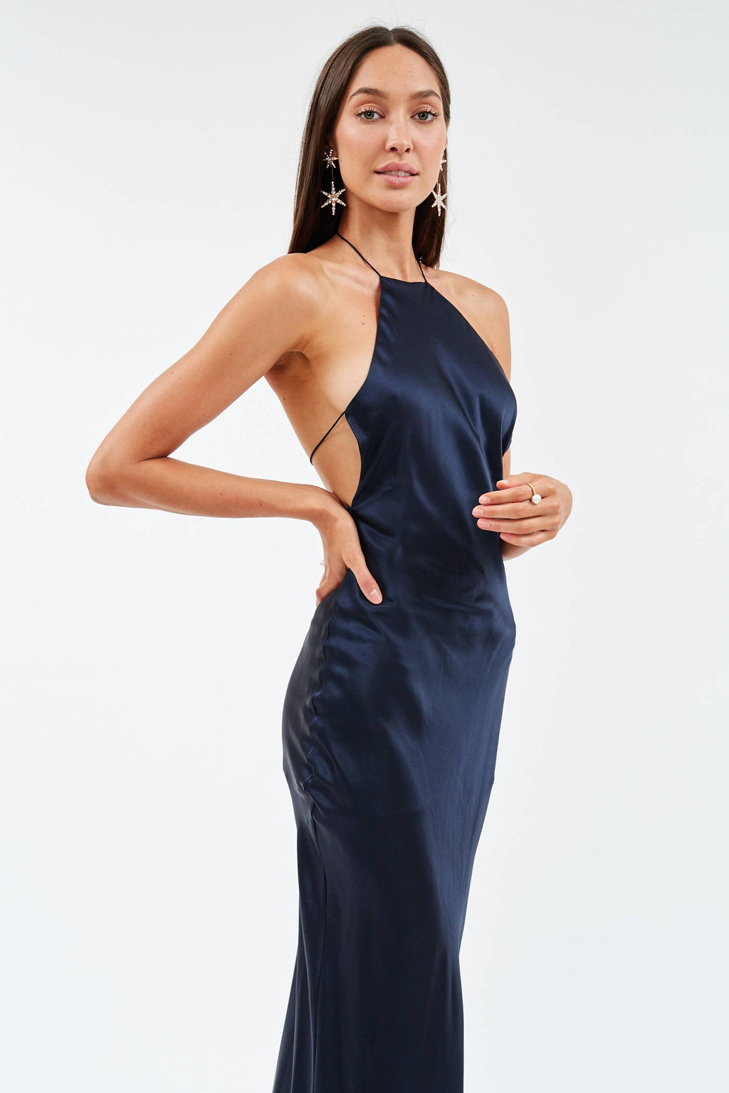 Silk Halter Maxi Dress