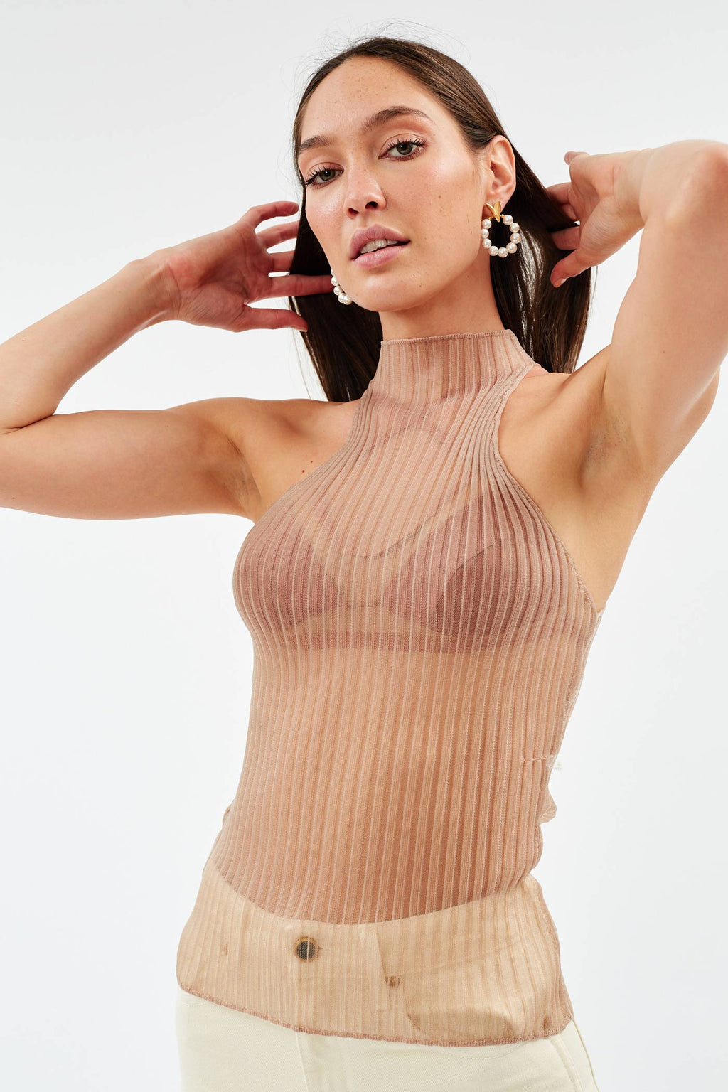 Corrugated Sheer Nude Tank