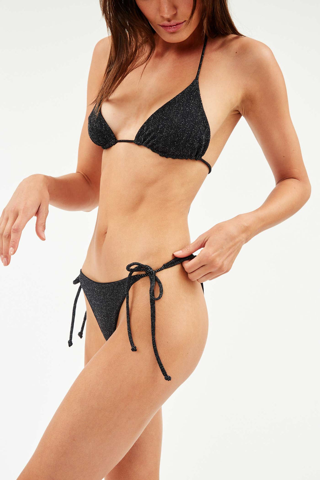 Black Glitter String Bikini Briefs