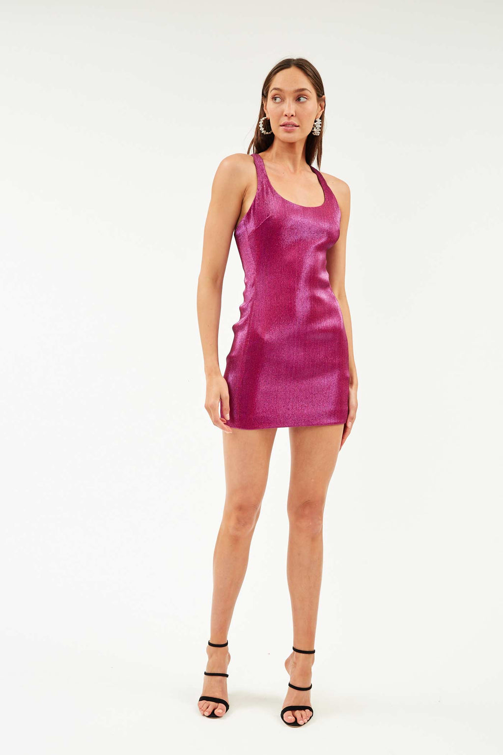 Fuchsia Lame Mini Dress