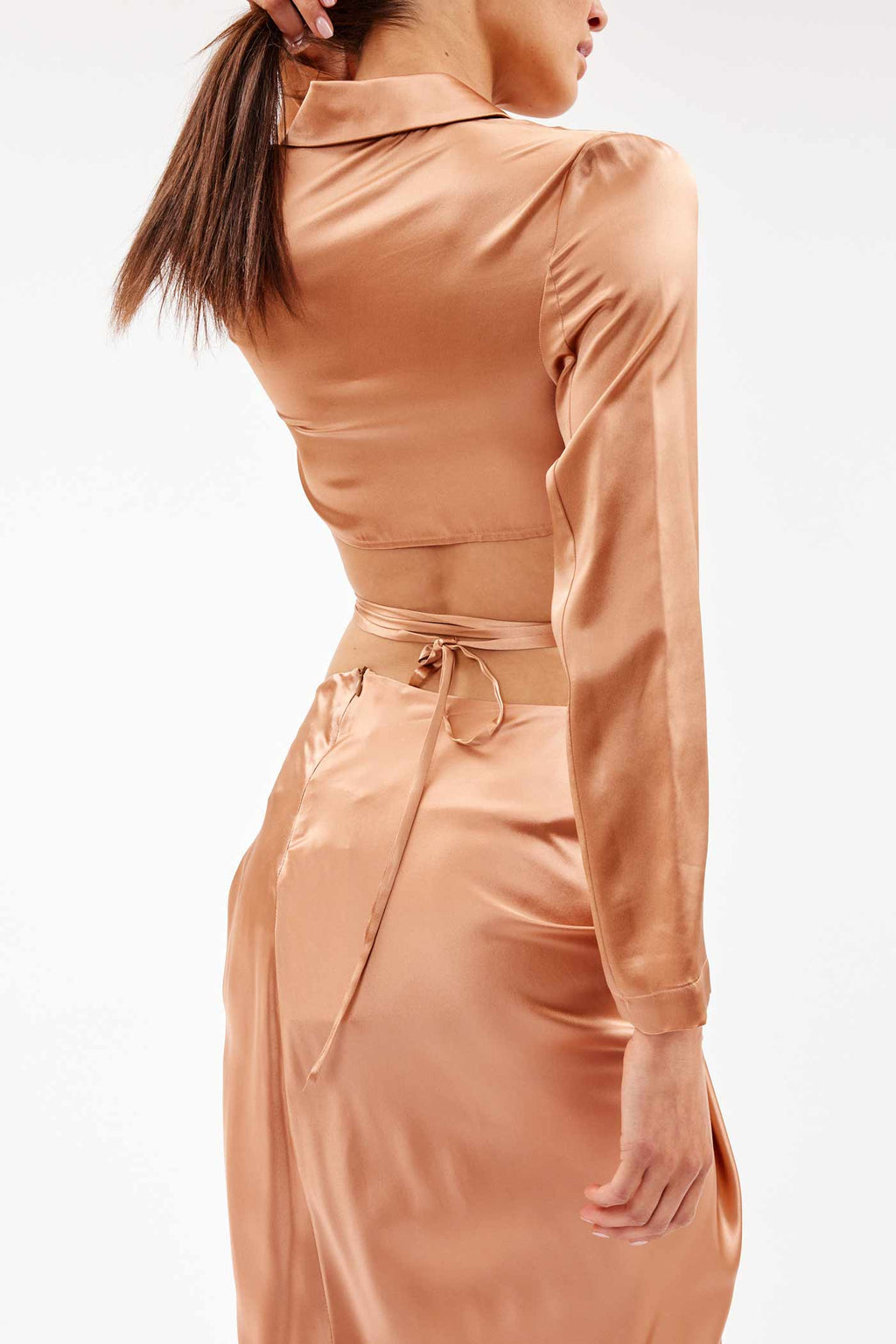 Silk Wrap Nude Crop Shirt