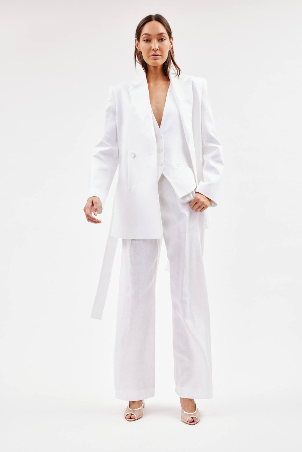 Relaxed Linen White Boy Blazer