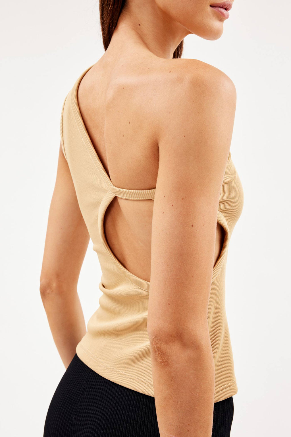 One Shoulder Cut Out Tan Tank
