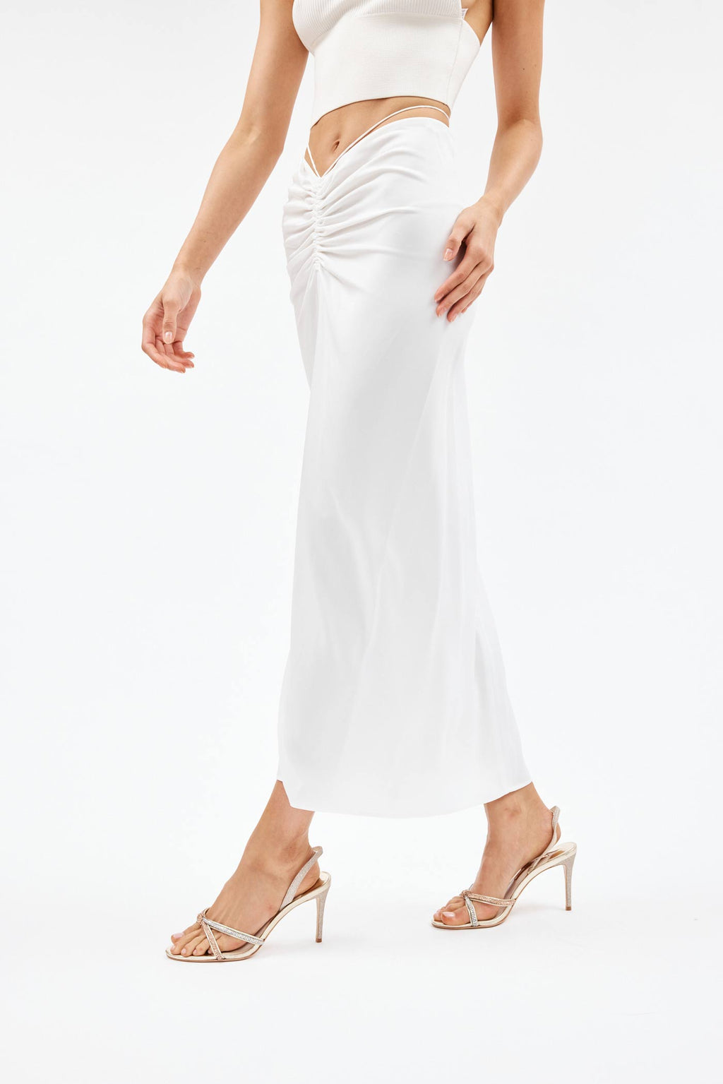 Ruched Natural Skirt