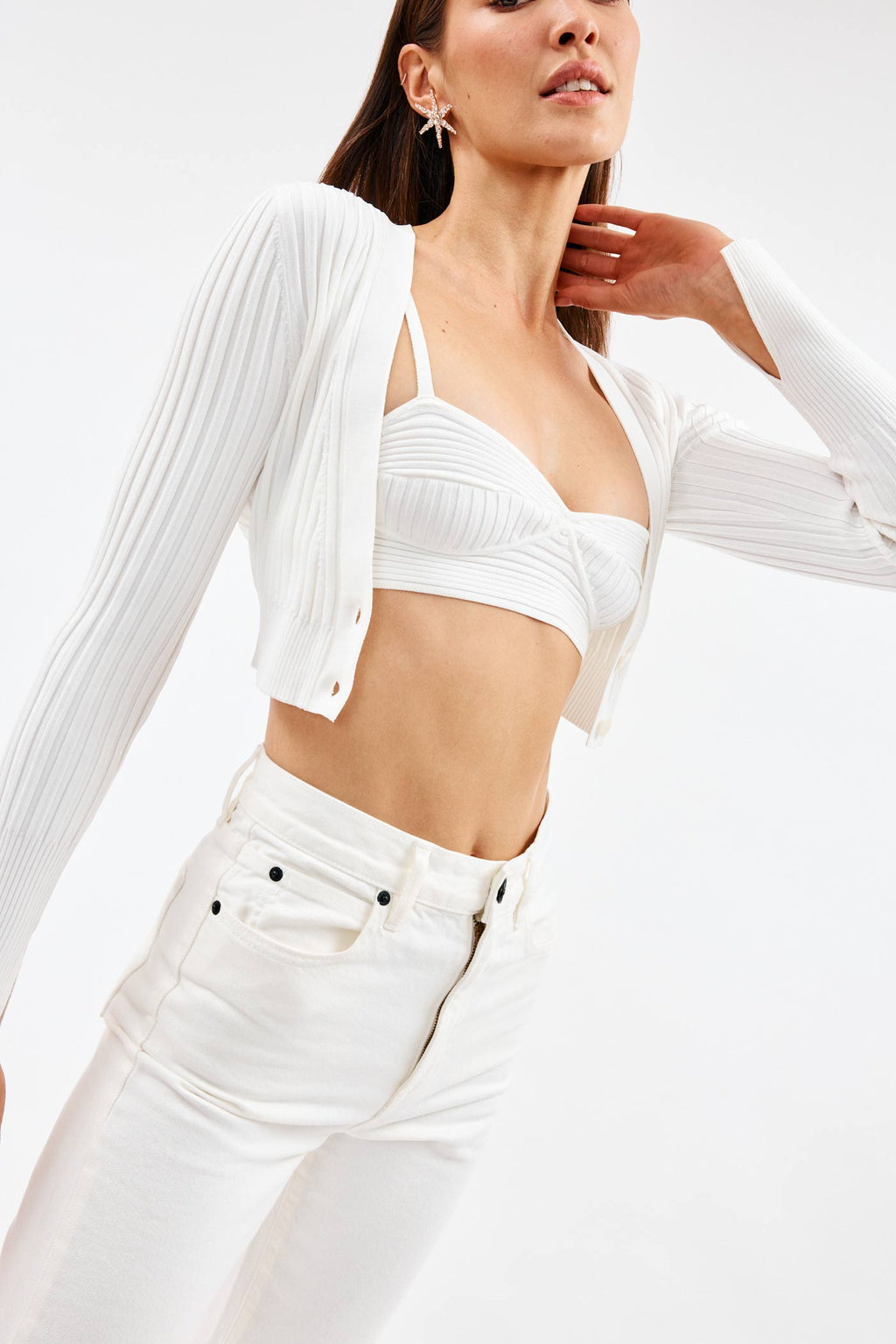 Kayla Cropped White Cardigan
