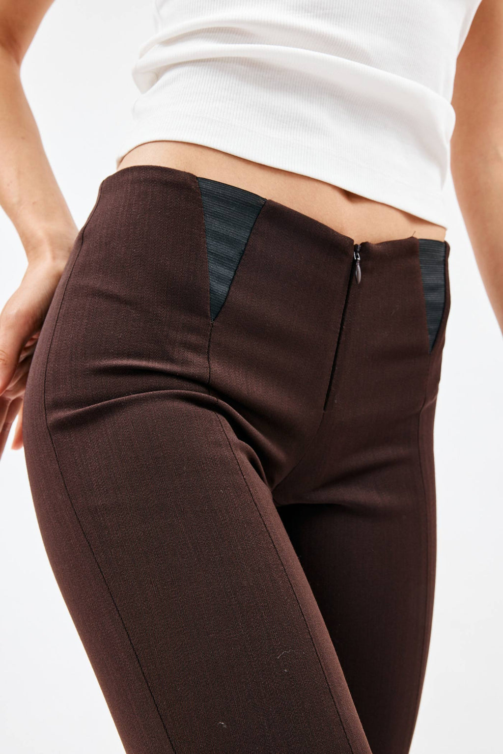 Panelled Chocolate Slim Pant