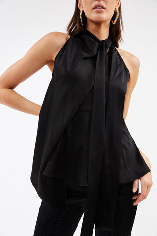 Cian Black Silk Halter