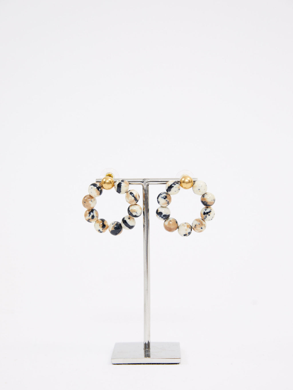 Speckled and Gold Natural Hoops