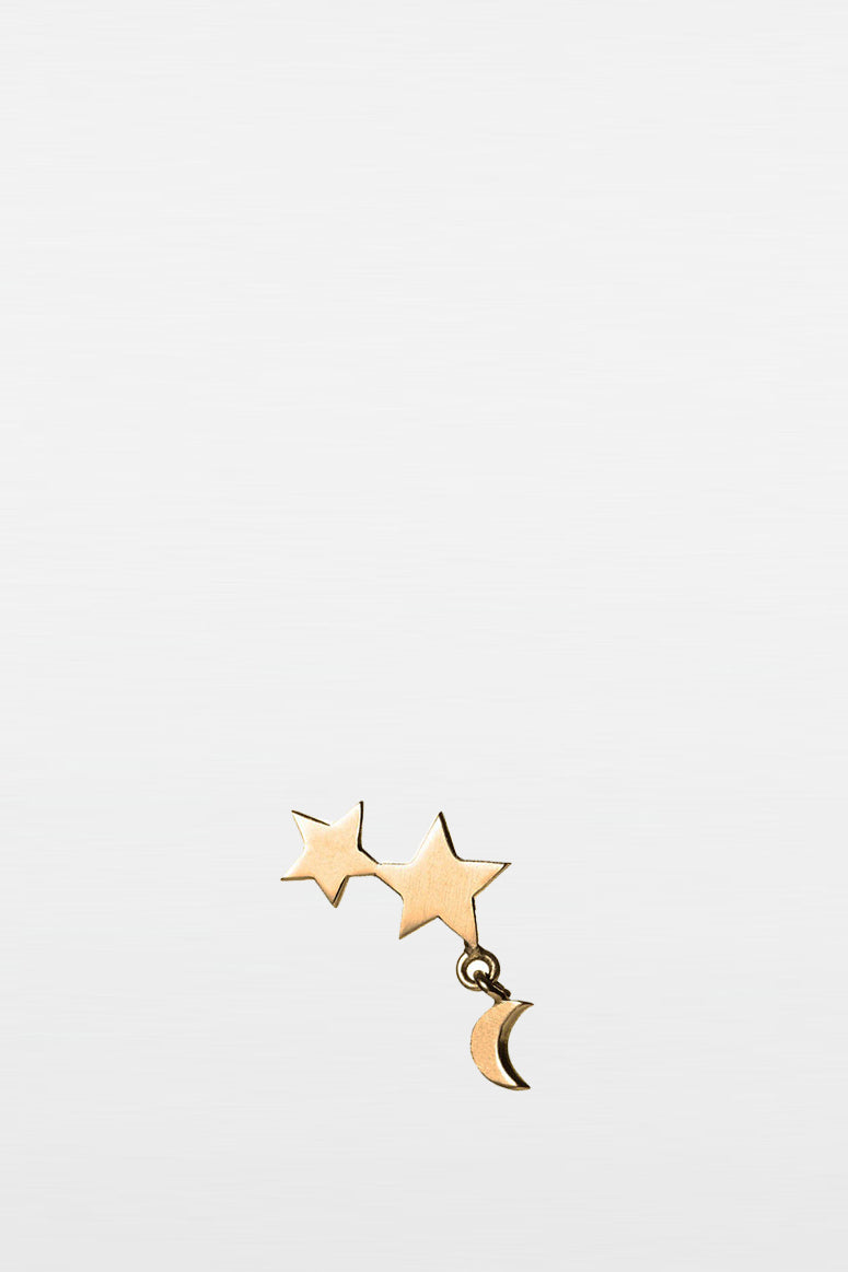 star and moon stud gold