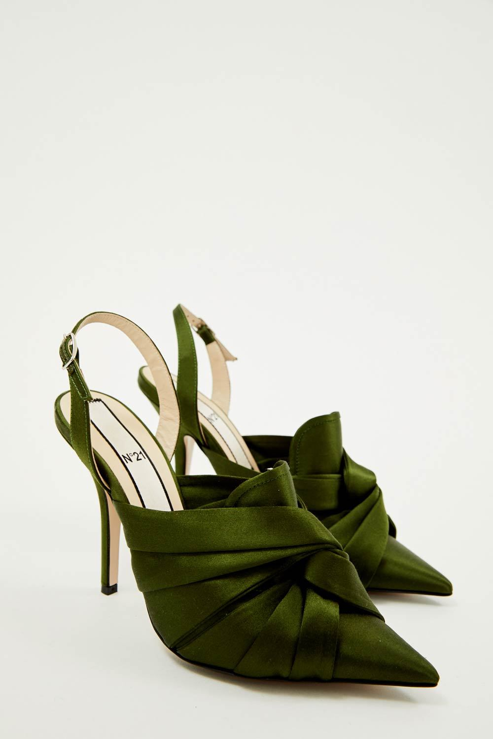 Satin Militaire Closed Toe Pump