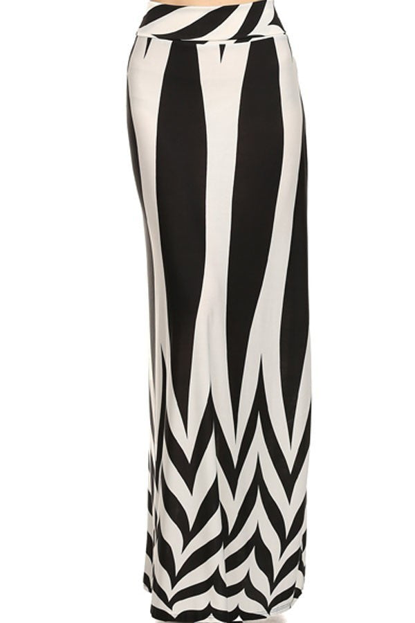 Black and White Symmetrical Maxi Skirt