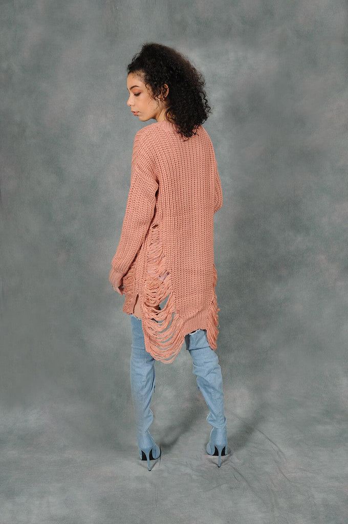 Perfectly Distressed Rose Sweater