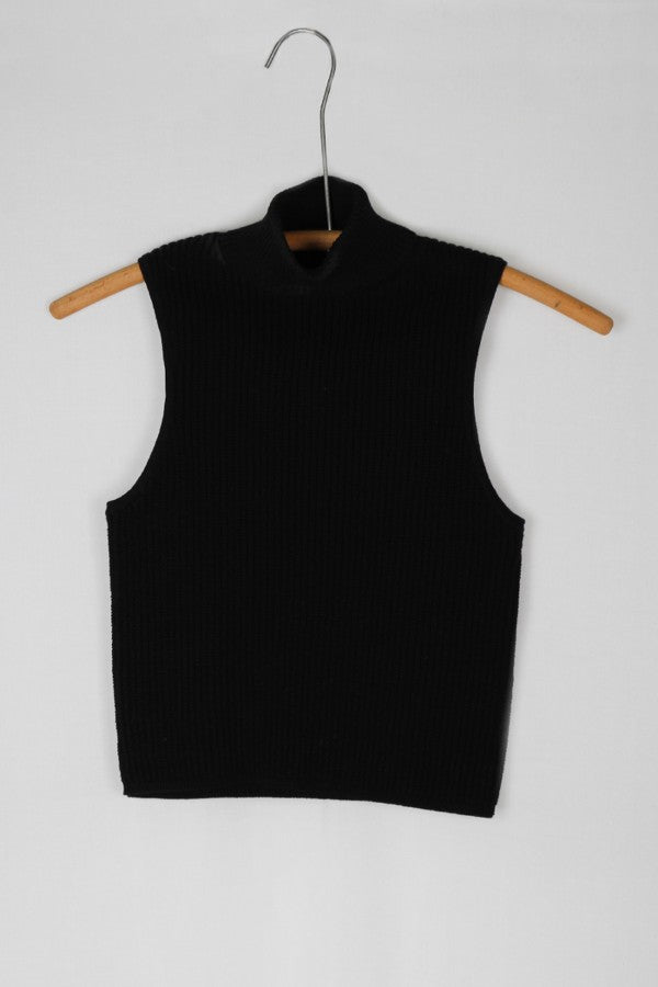 Ribbed Black Turtleneck Crop Top