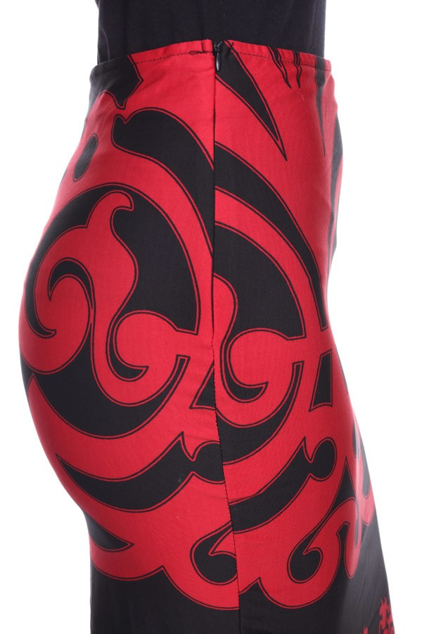 Print Red and Black Pencil Skirt